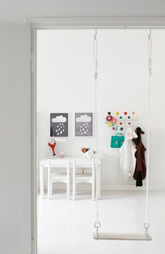 What a fun idea for indoors if you have enough room! Colour pop children's room The post What a fun idea for indoors if you have enough room! Colour pop children's appeared first on Children's Room. Indoor Swing, Indoor Play, Deco Kids, Kids Corner, Kid Spaces, Kids Decor, Boy Decor, Kids Bedroom, Kids Rooms