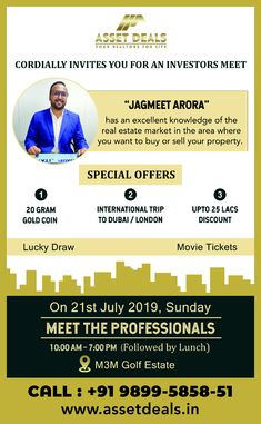 """Asset Deals invites you for an """"INVESTOR'S MEET"""" Real Estate Marketing, Investors, Knowledge, Meet, Invitations, Life, Save The Date Invitations, Shower Invitation, Invitation"""
