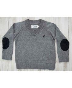 Suéter tricot decote V cinza Toffee
