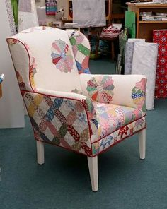 Chair upholstered with quilts