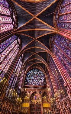 Saint Chapelle, Paris, France - This Gothic chapel is considered one of the highest achievements of the Rayonnant period. It's most prominent feature is the upper level, which is encompassed by floor-to-ceiling stained glass windows.