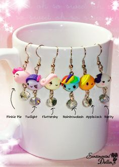 Mes petites boucles d'oreilles de poney, MLP bijoux, mon petit poney Kawaii boucles d'oreilles, Kawaii Polymer Clay Jewelry, Kawaii de boucl...