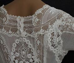 Beautiful crocheted lace on vintage top.