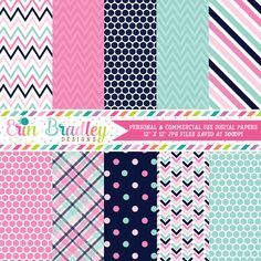 Pinks and Blues Digital Paper Pack – Erin Bradley/Ink Obsession Designs