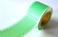 This would be so pretty to wrap around baking gifts. Wide mint green LACE DOTS Pattern Japanese Washi Tape- 38mm - New