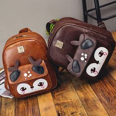 Cool! Retro Cartoon Shy Deer Splicing Brown PU School Backpack just $34.99 from Atwish.com! I can't wait to get it!