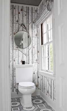 Water Closet Wallpaper - Design photos, ideas and inspiration. Amazing gallery of interior design and decorating ideas of Water Closet Wallpaper in bathrooms by elite interior designers. Toilet Closet, Toilet, Bathroom Wallpaper, Wood Wallpaper, Round Mirror Bathroom, Cloakroom Toilet, Small Toilet Room, Wallpaper Toilet, Wood Bathroom