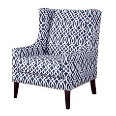 With a classic design that still bears a modern, Madison Park's Barton Wing Chair is a great addition to your living room. This chair has an updated print fabric pattern that looks wonderful with contrasting silver nail heads. Chair Bed, Wing Chair, Chair Cushions, Fabric Chairs, Swivel Chair, Living Room Chairs, Living Room Furniture, Dining Chairs, Living Rooms