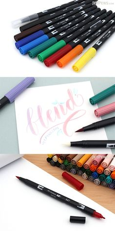 Conveniently combining fine and brush felt tips, Tombow Dual Brush Pens are loved by artists and crafters alike. Available in a range of colors. Calligraphy Supplies, Tombow Dual Brush Pen, Fancy Letters, Beautiful Handwriting, Gel Ink Pens, Pens And Pencils, Jet Pens, Marker Pen, Rubber Stamping