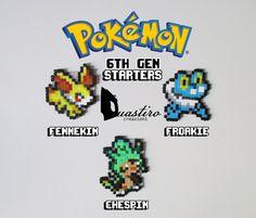 Pokemon Starters-6th Generation-Fennekin Froakie Chespin-Hama Beads 8 bit Pixel Art-Duastiro Artkal Fuse Perler Creations
