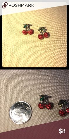 ~cherry~ rhinestone red cherries stud earrings These pretty earrings have shimmering red rhinestone cherries! They have silver metal, green leaves, and posts and backs. Jewelry Earrings