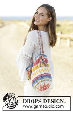 Acapulco crochet bag with multicoloured pattern by DROPS Design. Free Pattern