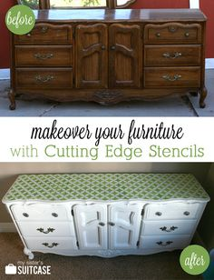 Ugly dresser transformed with paint and stenciling! #cuttingedge #stencil #DIY