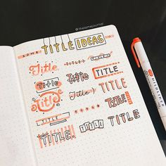 aesthetic notes Title Ideas Huge thanks to for making this awesome ideas for us Bullet Journal School, Bullet Journal Inspo, Bullet Journal Writing, Bullet Journal Headers, Bullet Journal Banner, Bullet Journal Aesthetic, Bullet Journal Ideas Pages, Bullet Journals, Tittle Ideas