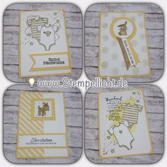 "Babykarten ""Zum Nachwuchs"" von Stampin´Up! in Ozeanblau, Zarte Pflaume, Safrangelb und Minzmakrone Stampin Up Karten, Stampin Up Cards, Kids Cards, Baby Cards, Diy Paper, Paper Crafts, Kids Birthday Cards, Baby Kind, Stamping Up"
