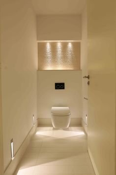 Bathroom Lighting Design by John Cullen Lighting Small Toilet Design, Modern Toilet Design, Wc Design, Interior Design, Cloakroom Toilet Downstairs Loo, Bathroom Niche, Design Bathroom, Bathroom Ideas, Bathroom Toilets
