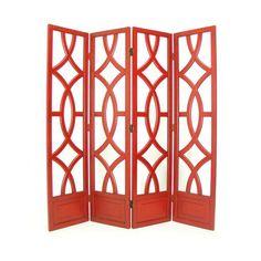 4- Panel Red Charleston Screen Room Divider