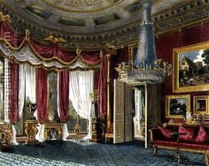 Charles Wild:Rose Satin Drawing Room (second view) Carlton House, engraved by R. Reeve from 'The History of the Royal Residences by William Henry Pyne pub. Victorian Decor, Victorian Homes, Carlton House, Royal Room, Vintage Interiors, Victorian Interiors, Royal Residence, Antique Interior, Red Rooms