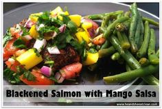 Need a quick dinner? 15 minutes and this is ready. Blackened Salmon with Mango Salsa – Healthy, Eat Clean and Paleo Friendly!! #eatclean #cleaneating #paleo #recipe #salmon #fish #healthy