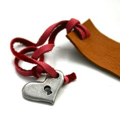 Red and brown leather bookmark with heart charm by FatCatLeather, $9.00