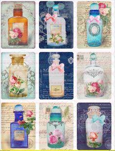 A4 Vintage Bügelbild Perfüme Flasche Shabby - 1181 von Doreen`s Bastelstube  - Kreativ & Außergewöhnlich auf DaWanda.com