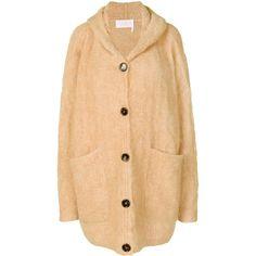 Chloé hooded cardigan (€1.525) via Polyvore featuring tops, cardigans, bohemian style tops, beige cardigan, cardigan top, beige top und drop shoulder tops