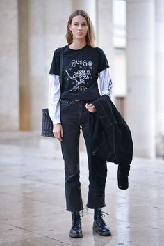 Grungey skater look with the oversized shirt sleeve layered over the top of a long Alex white tee and some cropped straight leg jeans