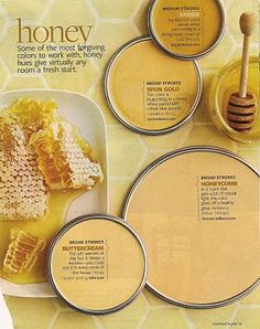 Honey...What a Delicious Wall Color for the kitchen...or maybe the bedroom?  Finally, a pin with a bunch of honey options