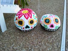 DIY Sugar Skull Pumpkins from sugarskullindustr. Sugar Skull Pumpkin, Pumpkin Art, Cute Pumpkin, Pumpkin Painting, Pumpkin Carving, Pumpkin Ideas, Sugar Skull Painting, Purple Pumpkin, Pumpkin Cookies