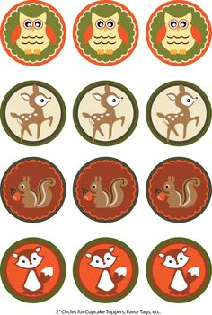 Woodland Animals Cupcake Toppers Printables