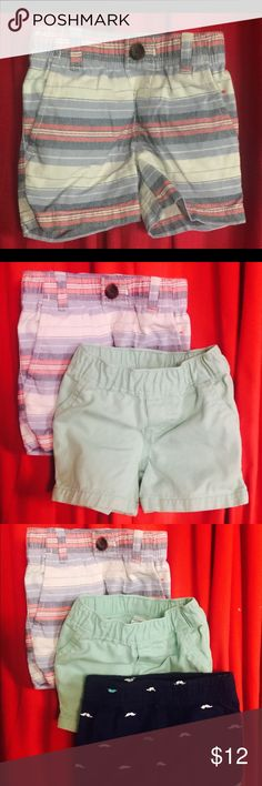 Carters baby shorts This bundle comes with 3 shorts that are sized 9 month. There is a combination of blue, red, and white shorts, green shorts, and navy blue shorts with mustache print. The heat is not over yet, and these 3 pairs will be great for your cutie pie when having fun under the sun ☀️ Carter's Bottoms Shorts