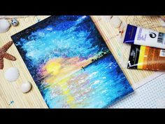 (I like how she uses cotton balls, aluminum foil, and Q-Tips to paint)   Let's paint: A Sunset at the Beach - Painting with mako - YouTube