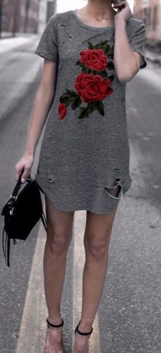 A distressed t-shirt dress is so easy to just throw on