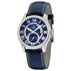 FREE & FAST US SHIPPING. Festina F16276/3 Men's Watch Blue Leather Strap Blue Dial.