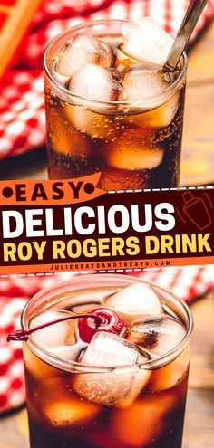 Quench your thirst with this summer drink idea. Roy Rogers is a refreshing blend of cola, grenadine syrup and garnished with a maraschino cherry. Make this non-alcoholic mixed drink for the whole family! Summer Drink Recipes, Easy Drink Recipes, Alcohol Drink Recipes, Summer Drinks, Kid Drinks, Fruity Drinks, Fancy Drinks, Roy Rogers Drink, Drinks With Grenadine