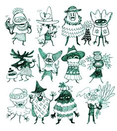 """Very Small Wizards"""" Drawing Cartoon Faces, Cartoon Art Styles, Cute Drawings, Sketchbook Inspiration, Art Sketchbook, Pretty Art, Cute Art, Character Illustration, Graphic Illustration"""