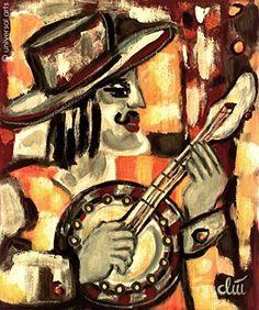 Jacqueline Ditt - Banjo - universal arts Galerie Studio - Grafik Druck Kunstdruck nach dem Gemälde universal arts Galerie Studio edition http://www.amazon.de/dp/B00KXB7GB2/ref=cm_sw_r_pi_dp_Kya8vb0WWH6P7