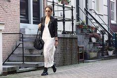 Biker+white dress+black boots