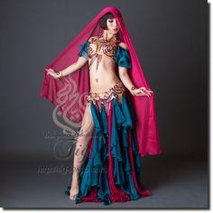 【Turkish Belly Dance Costume】by Bella / Dark Teal Magenta / WORLDWIDE SHIPPING