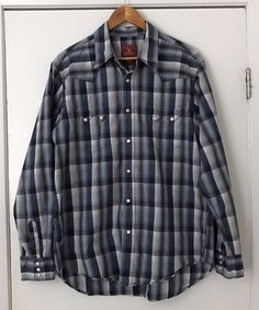 9f16a75deb Lucky Brand Western Shirt Large Blue Plaid With Pearl Snap Buttons 100%  Cotton  LuckyBrand