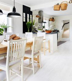 spacious Scandinavian kitchen and dining room