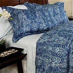 Mia Blue and White Paisley 400 thread count Duvet Comforter...   Shop   Kaboodle