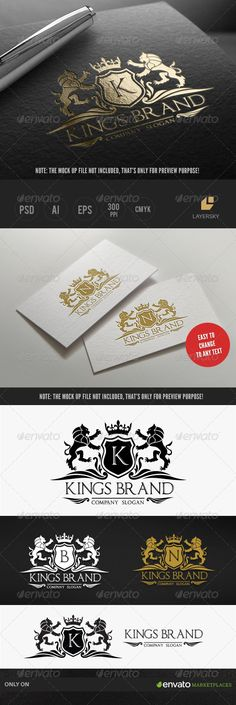 Kings Brand by LayerSky This logo design for all creative business. Consulting, Excellent logo,simple and unique concept. Logo Template FeaturesPSD File S Letterhead Design, Branding Design, Brochure Template, Logo Templates, Three Letter Logos, Create Logo Design, Royal Logo, Cool Business Cards, Creative Business