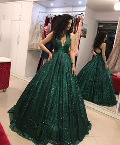 elegant dark green sequined prom dress with sequined, fashion ball gown deep v-neck party dress with pleats