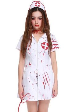 Womens Ghost Nurse Halloween Costume - (Dress + Hat Only) (1 inch = 2.54cm) 100% Brand New Material:Polyester+Spandex Package: Dress + Hat Only Size: M: bust 88cm,waist 80cm,length 78cm L: bust 94cm,w