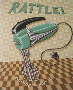 Nifty Fifties - Rattle Poster Print by Charlene Audrey Cute Kitchen, Kitchen Art, Vintage Kitchen, Kitchen Prints, Kitchen Ideas, Retro Poster, Vintage Posters, Vintage Labels, Retro Vintage