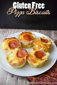 Make these quick and easy Gluten Free Pizza Biscuits that only take four ingredients! Perfect for a quick lunch.