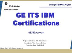 Certification Process Six Sigma Case Study