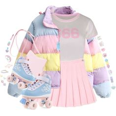 Precious pastel outfit featuring a pink pleated skirt and a multicolor puffer jacket with pastel roller skates 😍😍 Pastel Goth Outfits, Pastel Goth Fashion, Pastel Outfit, Kawaii Fashion, Cute Fashion, Fashion Styles, Pastel Clothes, Cute Casual Outfits, Pretty Outfits