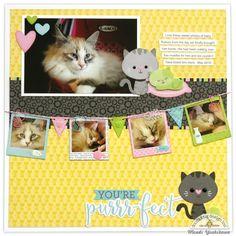 Doodlebug Design Kitten Smitten Purrfect Cat Layout by Mendi Yoshikawa.